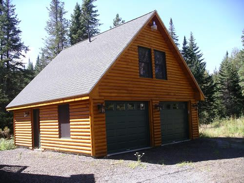 Pictures of detached two car garage garages styled to for Log cabin style garages