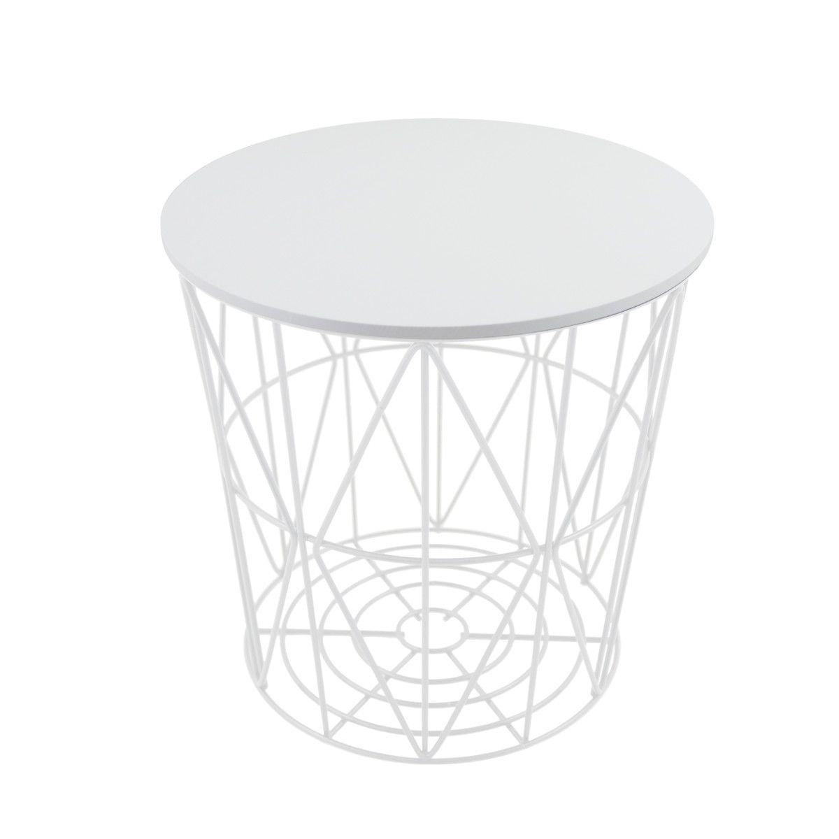 Primoliving Design Drahtkoerbe In 4 Groessen Drahtkorb Tisch Korb Mit Deckel Weiss Side Table Decor Home Decor