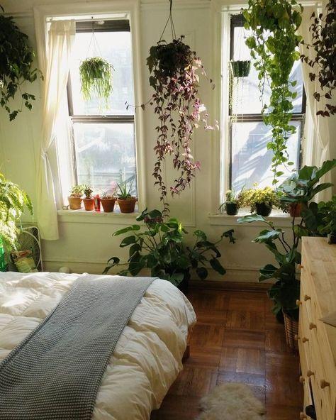 Urban jungle slaapkamer met hangplanten voor ramen. | S ...