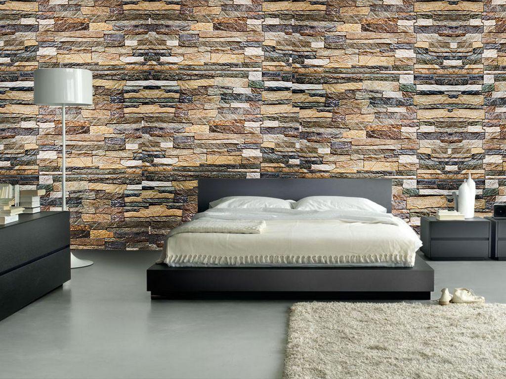 Dormitorio papel mural piedras mixtas papel decomural for Papel mural living comedor