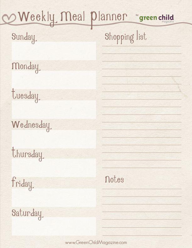 Natural Look Meal Planning Kit { free printables } Free printables - food inventory template