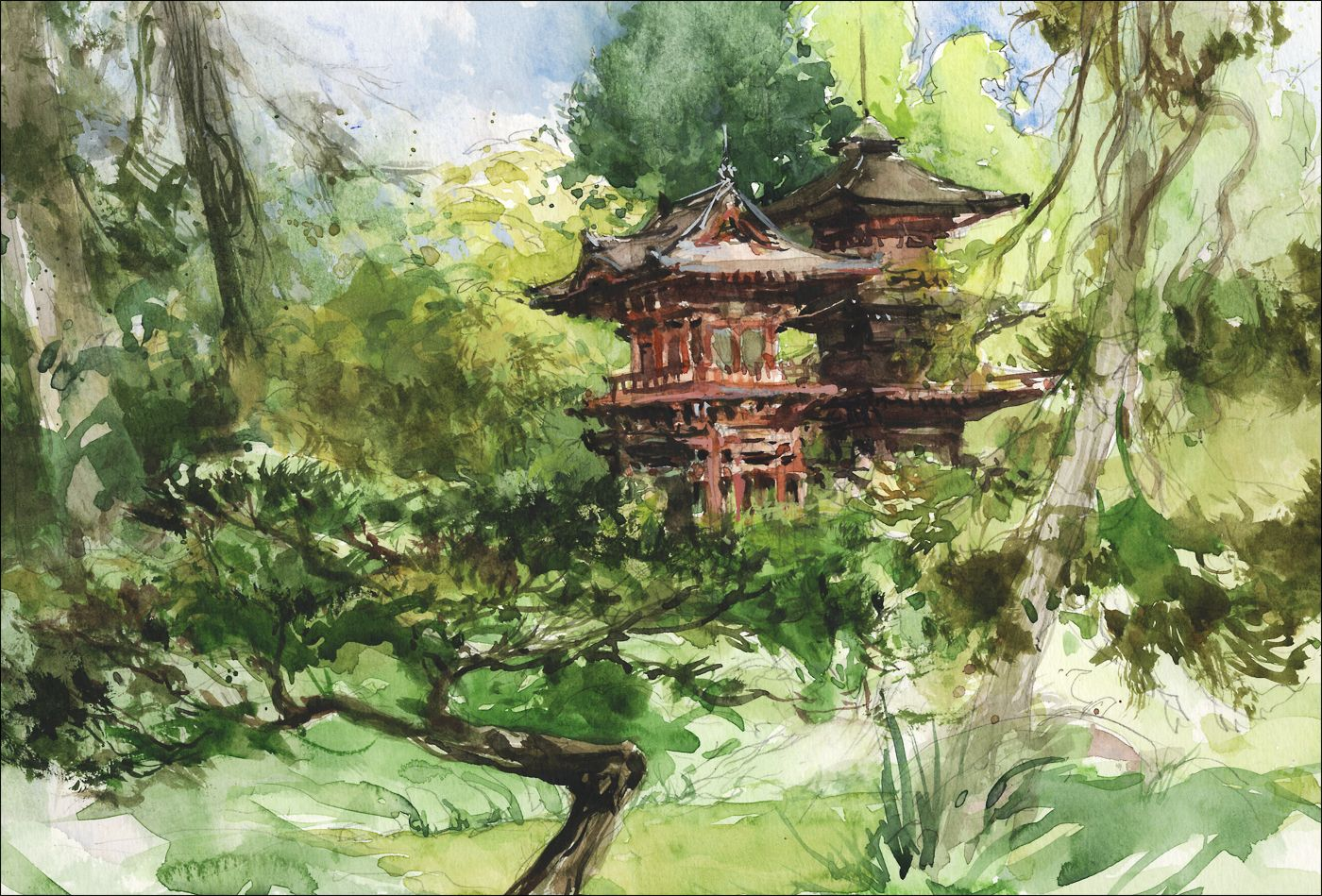 Japanese Garden Golden Gate Park Japanese Watercolor Urban