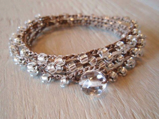 "Shabby chic crochet wrap necklace bracelet SunDrops ""Silver Willow"" long bohemian wrap jewelry, clear glass, neutral boho chic. $38.00, via Etsy."