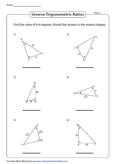 Find The Measure Of An Angle Trigonometry Worksheets Worksheets Angles Worksheet