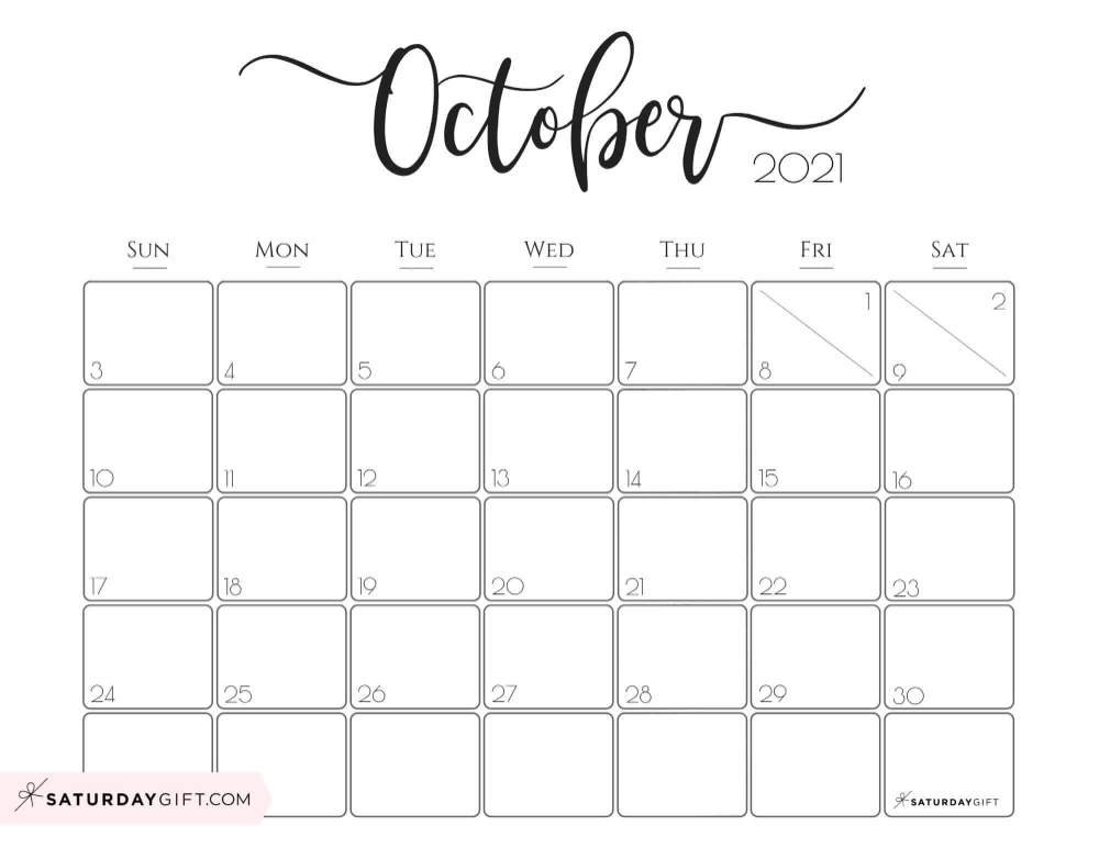 Printable Calendar October 2021 Elegant 2021 Calendar by SaturdayGift   Pretty Printable Monthly
