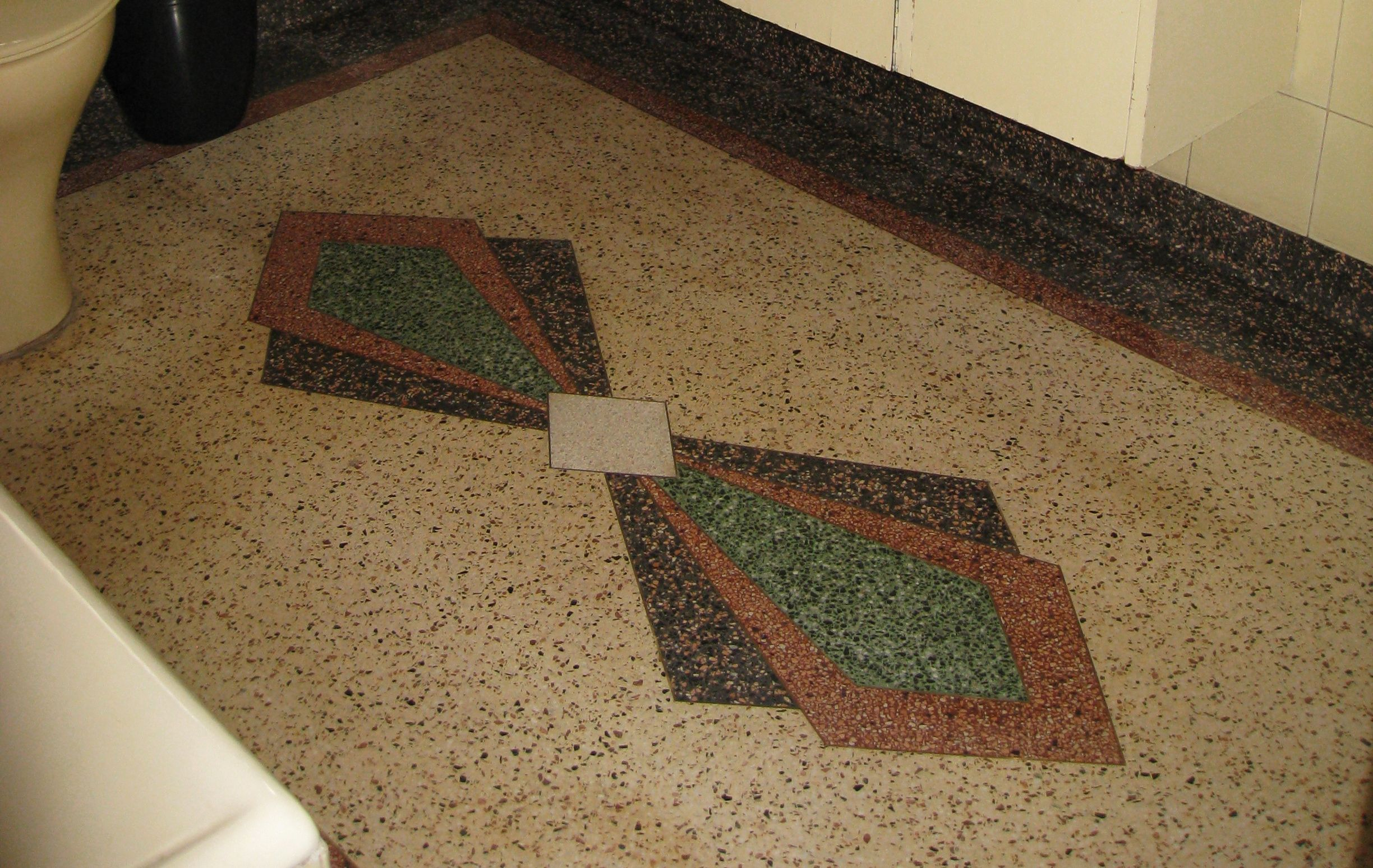 The Existing Terrazzo Floor With Art Deco Pattern Provides