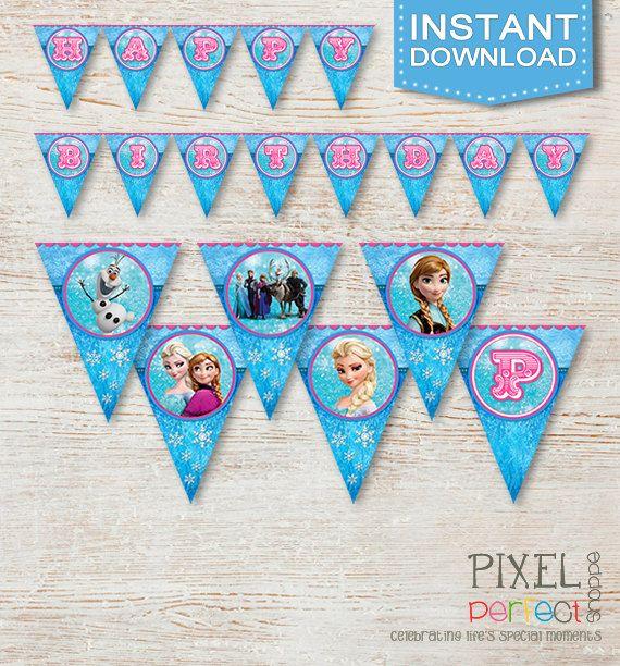 Frozen Birthday Banner, Frozen Banner, Frozen Birthday Supplies, Frozen Party Favor, Disney Frozen, Disney Movie, Disney Birthday Banner
