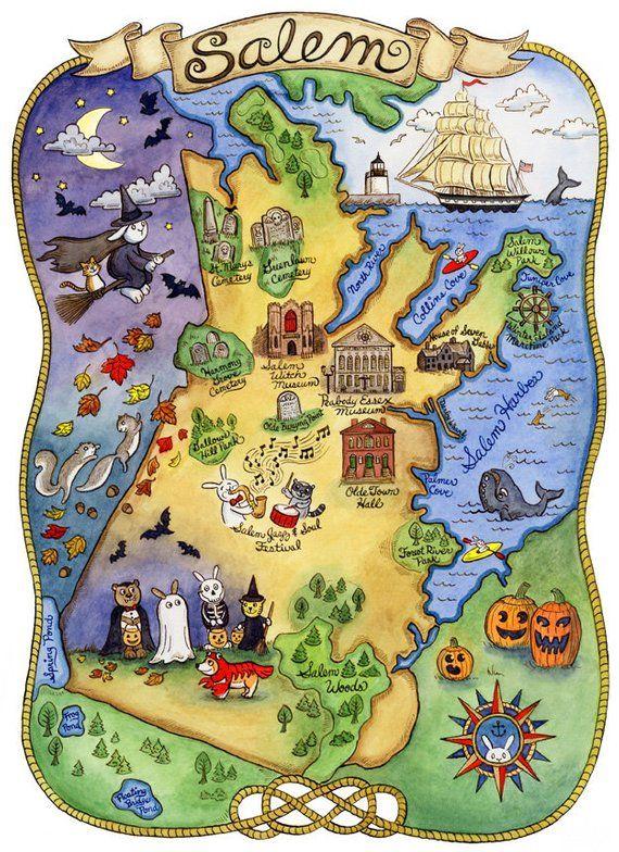 Map Of Salem Massachusetts Map of Salem Massachusetts Art Print 11