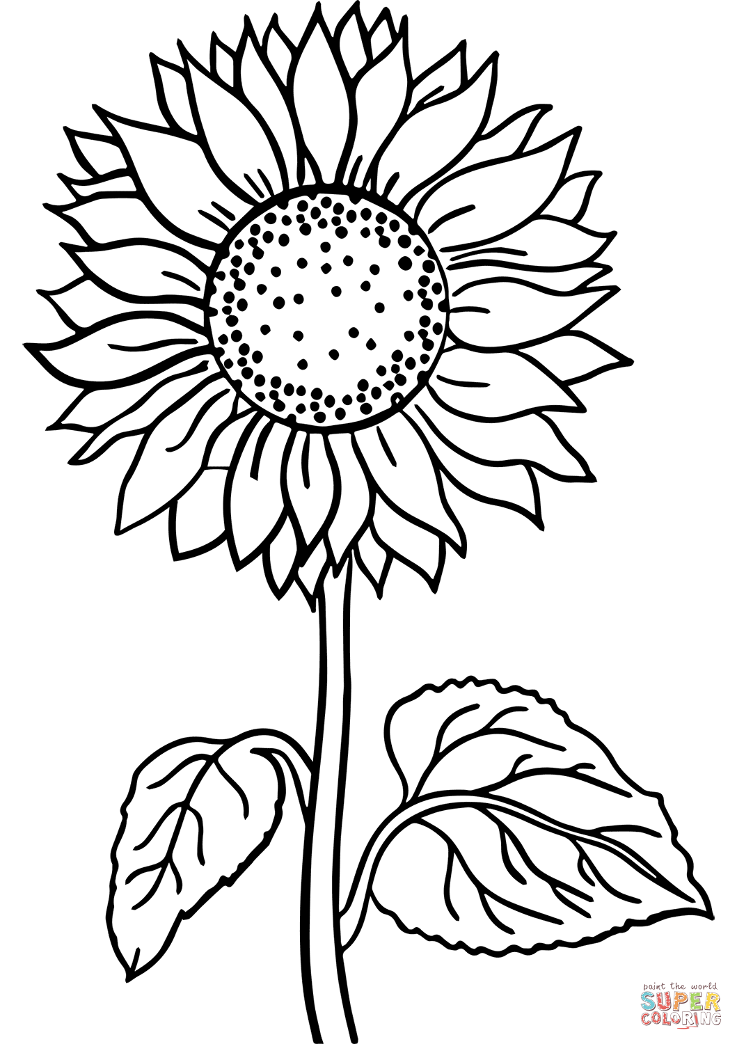 Sunflower Super Coloring Sunflower Coloring Pages Printable Flower Coloring Pages Free Coloring Pages