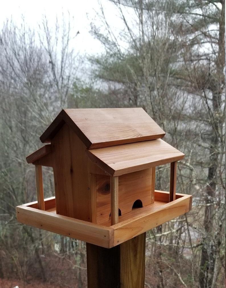 Small Old Barn Bird Feeder Solid Cedar Wood Handcrafted In Usa In 2020 Wood Bird Feeder Decorative Bird Houses Bird Feeders