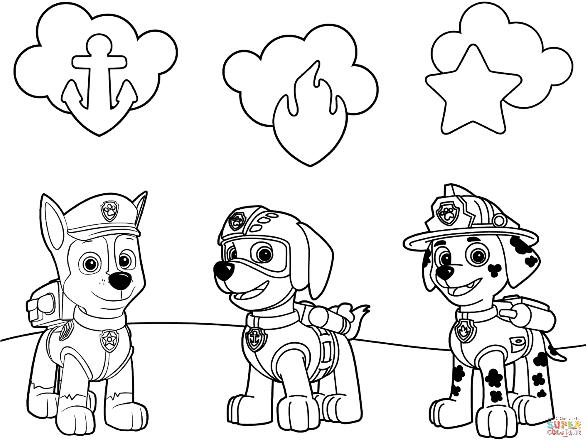 paw patrol badges coloring page free printable coloring pages - Free Printable Coloring Pictures