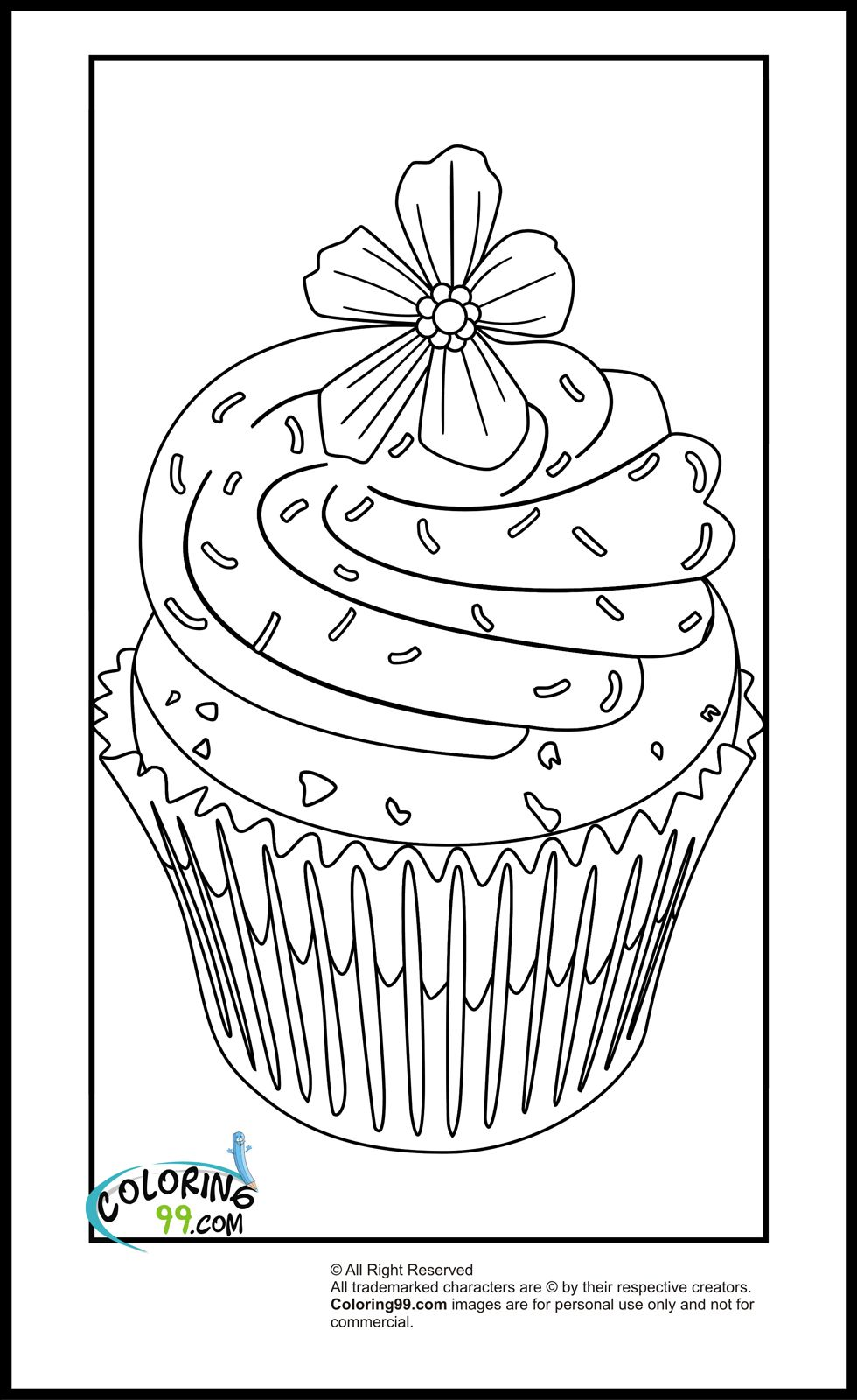 "blue and sprinkle coloring pages | iColor ""Cupcakes"" ~ A Cupcake with Flower Violet on top ..."