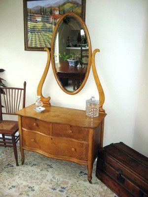 Antique Vanity Lingere Dresser Beveled Slate Mirror Birds