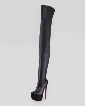 Christian Louboutin Monicarina Over-The-Knee Leather Platform Boot, Black