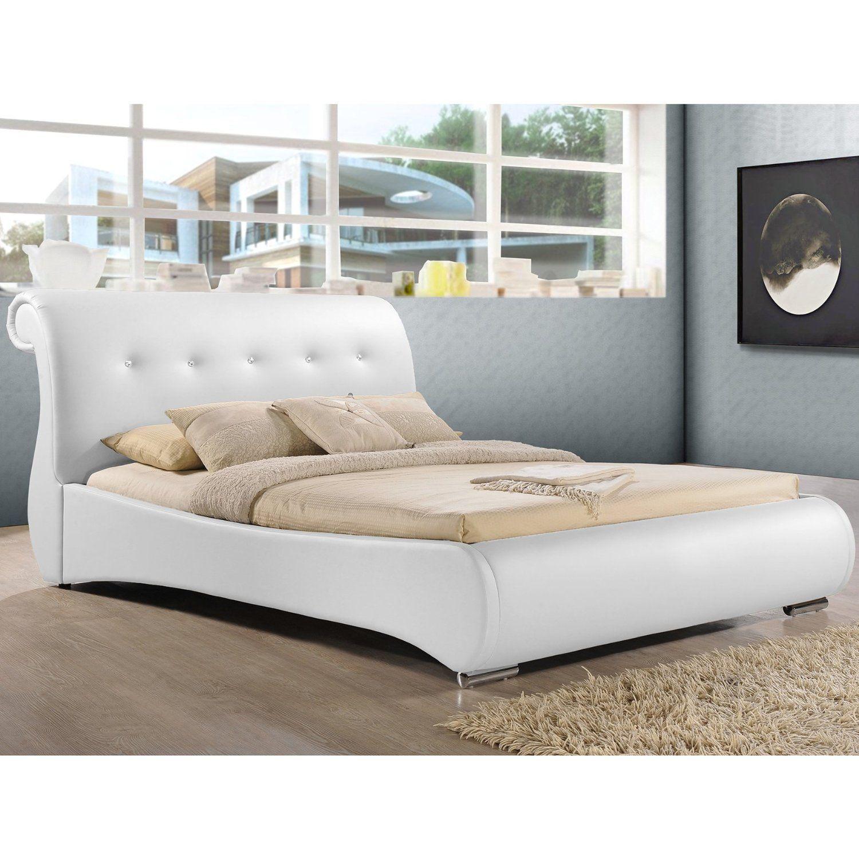 Amazon.com: Baxton Studio Pergamena Leather Contemporary Bed, King ...