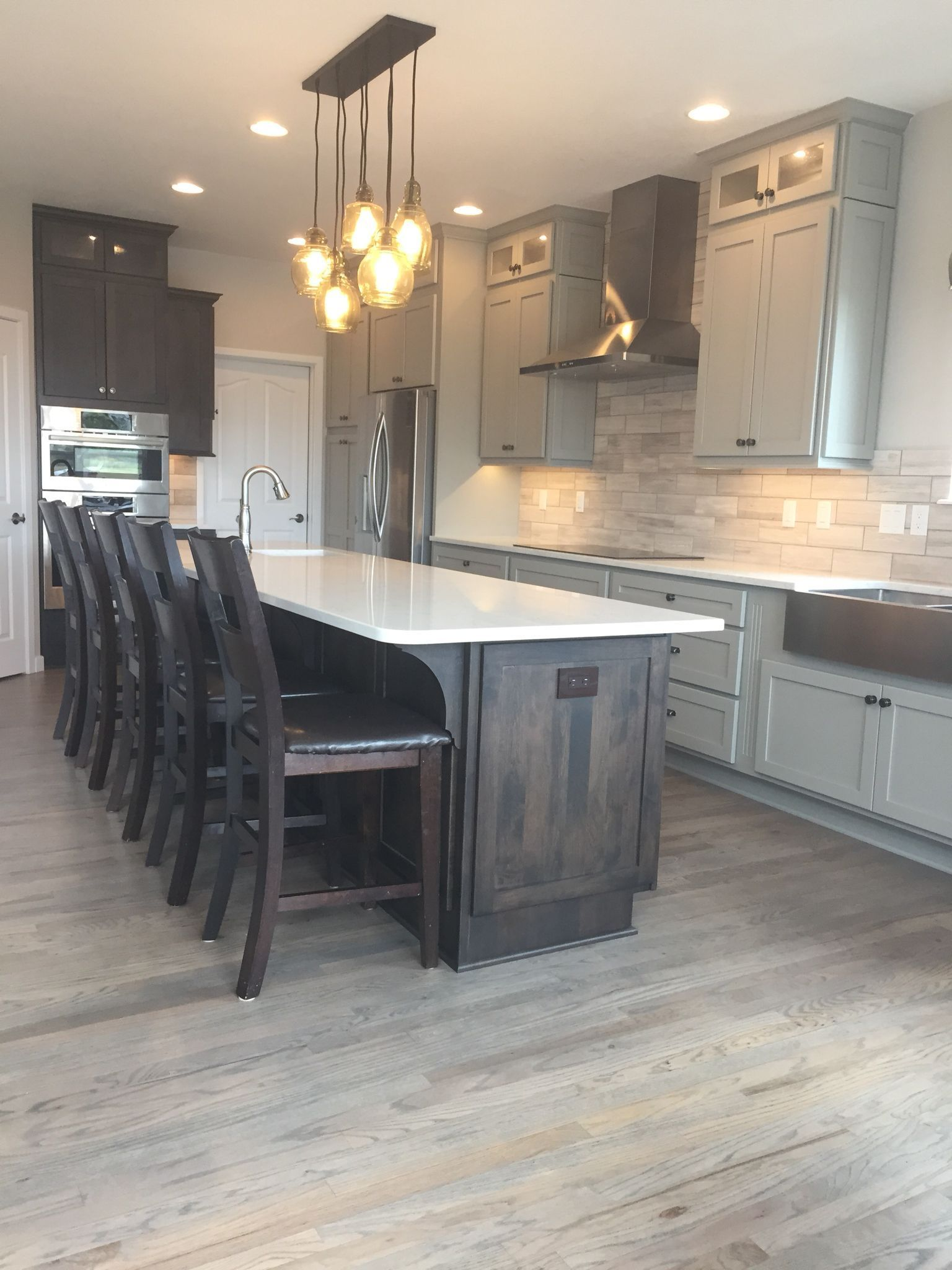 Kitchen remodel. Cabinets-Custom Cupboards in mocha and Boulder grey ...