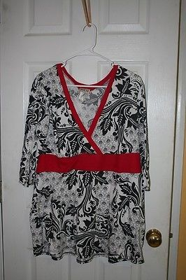 Mkm Designs Clothing | Mkm Designs Womans Plus Top Blouse Red Black White Floral 3 4