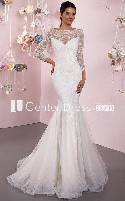 Mermaid 3-4 Sleeve Lace Bateau Neck Tulle Wedding Dress With Brush Train