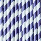 Papier Strohhalme 25 Stck. Lila/Weiß Streifen, 20 cm