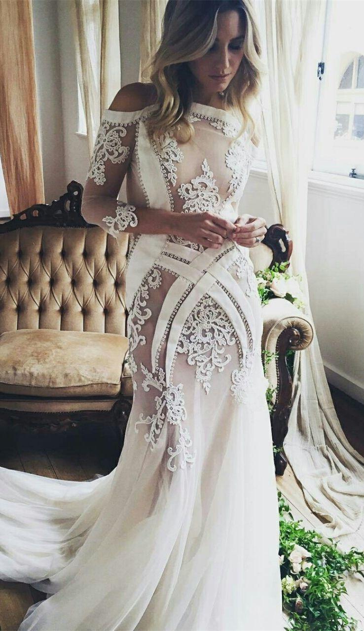 Special sheath bateau cold shoulder sleeves court train wedding