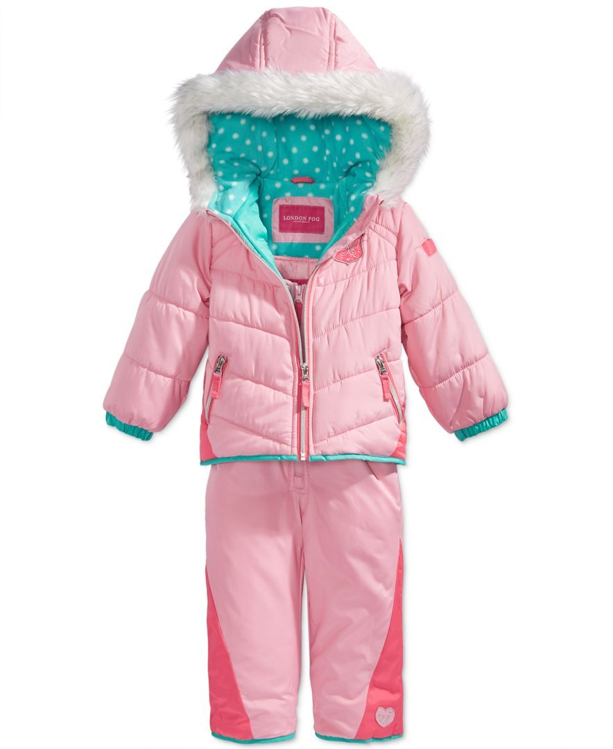 63c25d416788 London Fog 2-Pc. Snowsuit with Faux-Fur Trim