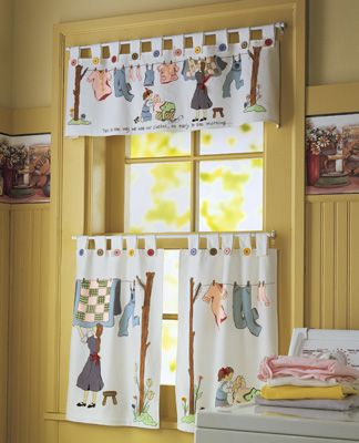 Nostalgic Laundry Room Cafe Curtains Set - How cute! too bad my laundryroom  is in