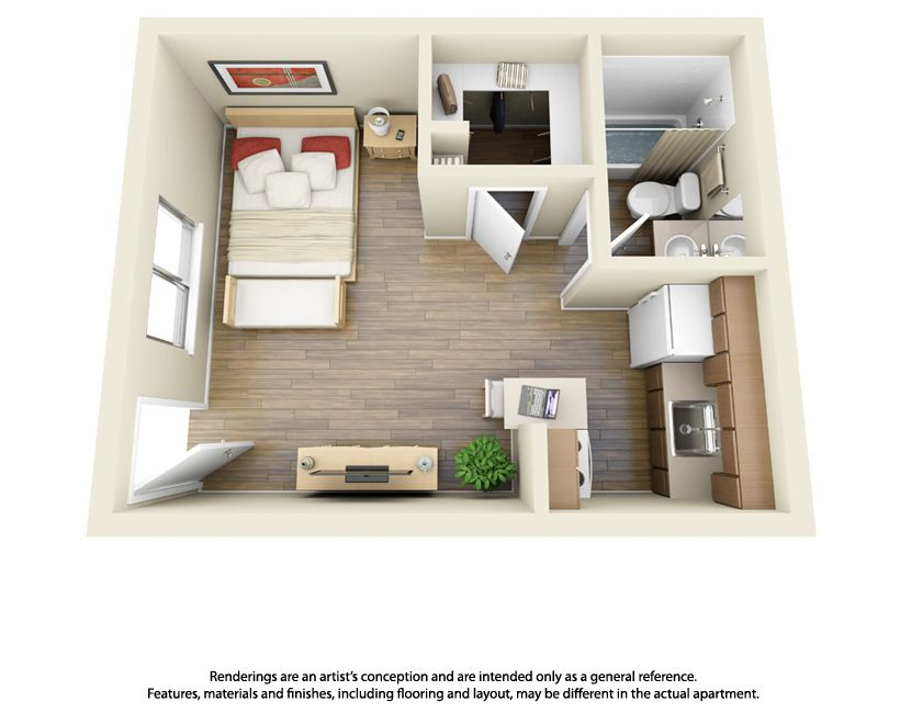 10 floor plans studio apartment apartments and 3d for Efficiency apartment floor plans