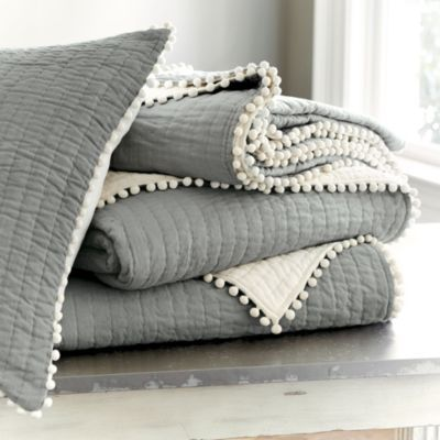 Audree Pom Pom Quilted Bedding Grey Bedding Quilt Bedding Bed