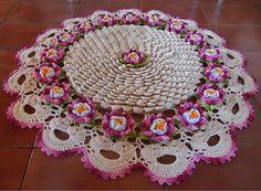 OS CROCHES DA ELSA: Tapete Redondo Flor de Maracujá