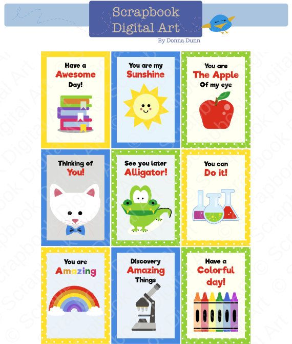 Printable - Lunchbox Notes for Kids, Notecards for Kids, Kids Art