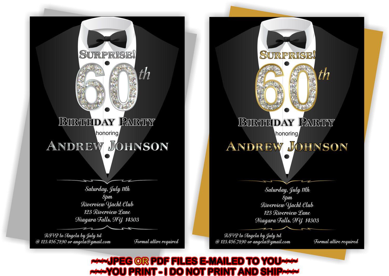 YOU PRINT Man 50th Birthday Invitation 60th By TAGSRUSCANADA