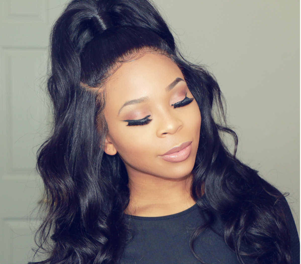 Lace Front Wig Half Up Half Down Done By Simone Sharice Human Hair Wigs Wig Hairstyles Weave Hairstyles
