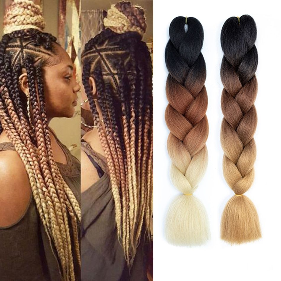 Find More Jumbo Braids Information About 24 100g Pc Synthetic Ombre Braiding Hair Crochet Braid In Hair Extensions Braided Hairstyles Braids With Extensions