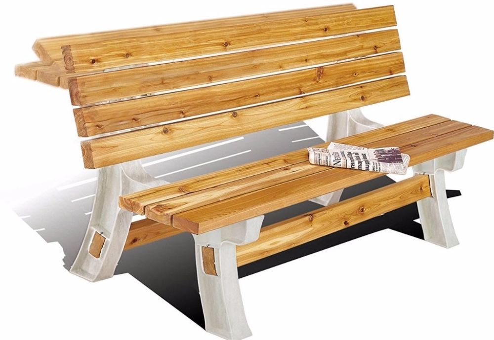 Hopkins Durable Frame Comfortable Flip Top Bench Table Sand Patio ...