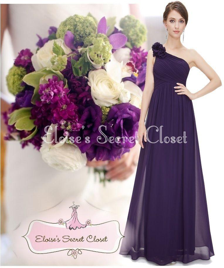 PIPPA Aubergine Dark Purple Corsage Chiffon Bridesmaid Maxi Dress ...
