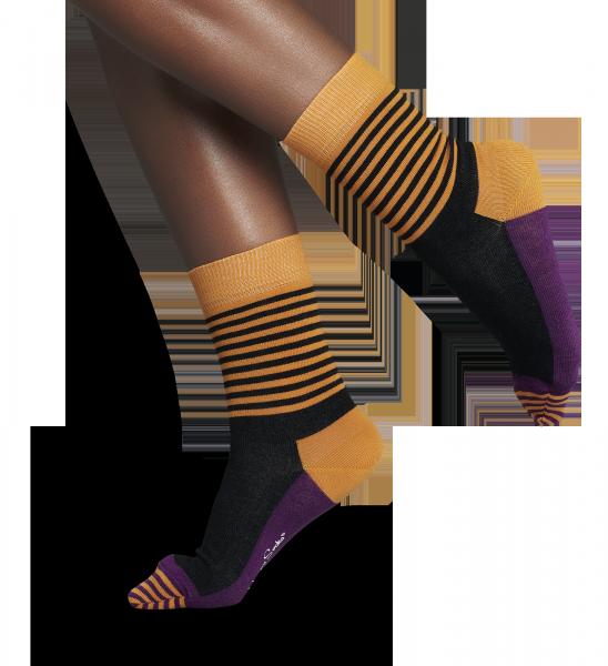 Black/Orange half stripe cool socks for fun people at HappySocks.com