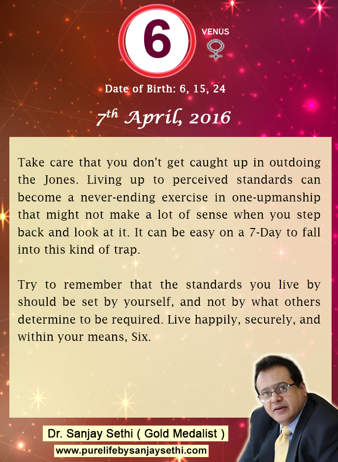 #Numerology‬ predictions for 7th April'16 by Dr.Sanjay Sethi-Gold Medalist and World's No.1 #AstroNumerologist.