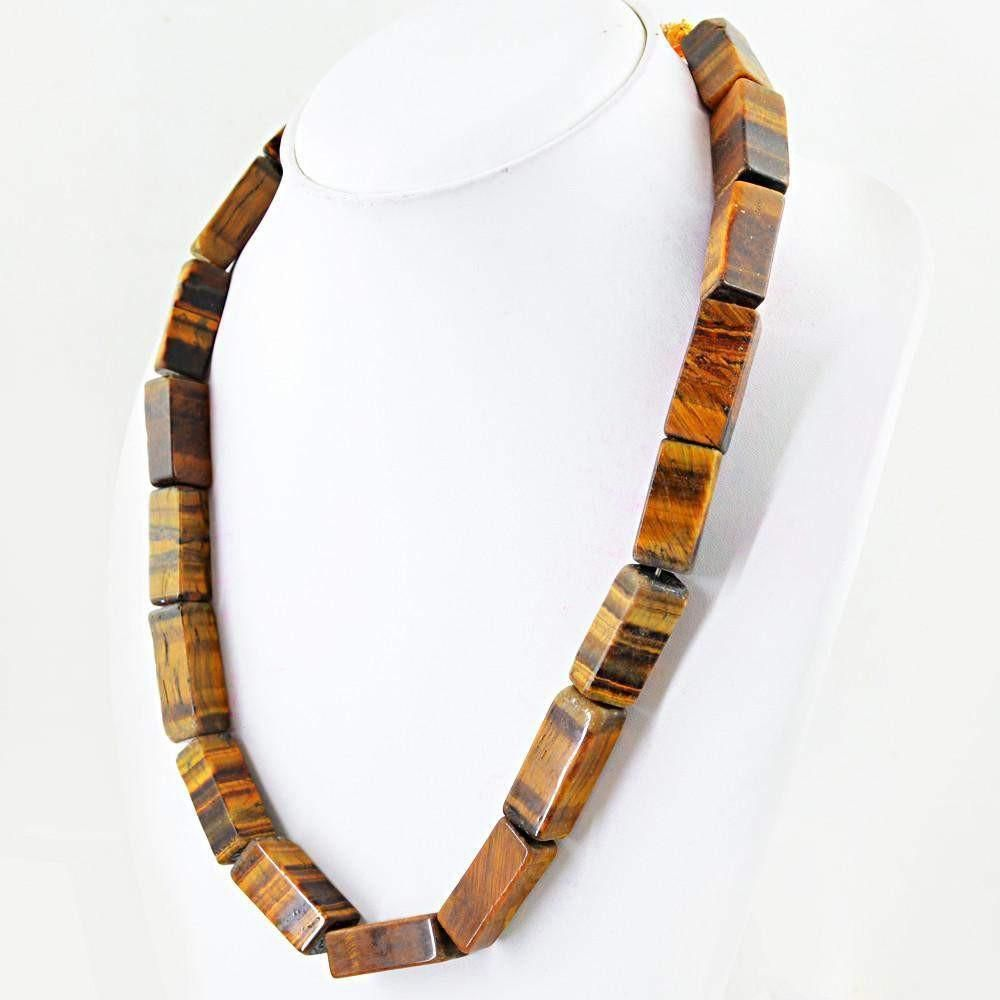 Photo of Genuine Natural Golden Tiger Eye Necklace Single Strand Untreated Beads