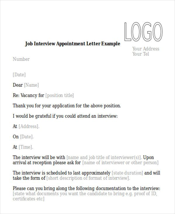 sample interview appointment letter examples pdf word download - appointment letter