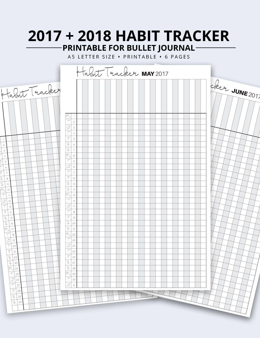 graphic relating to Bullet Journal Habit Tracker Printable named month to month routine tracker printable -