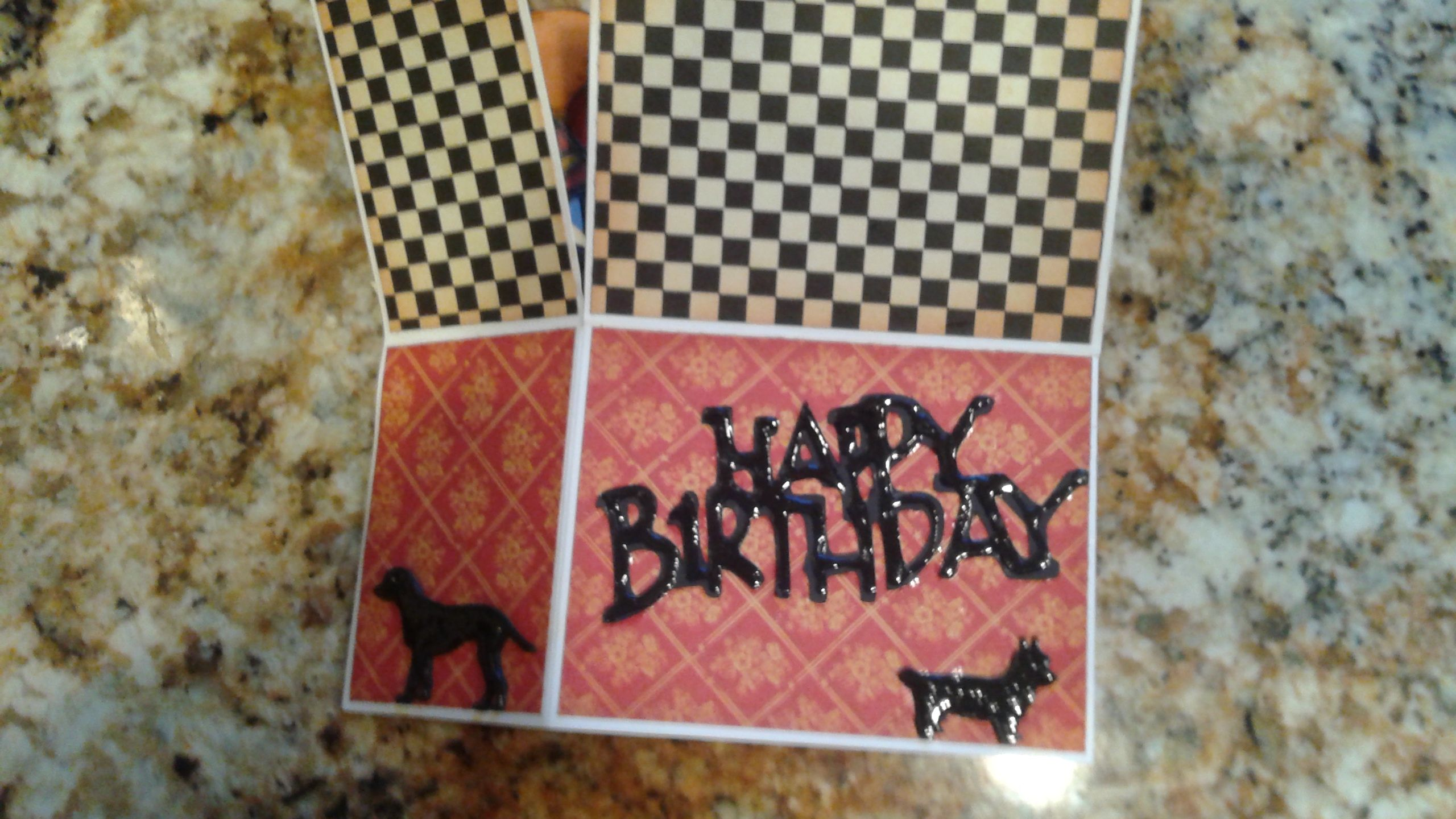 Popup card bottom section with the crazy birds, dog die cuts.