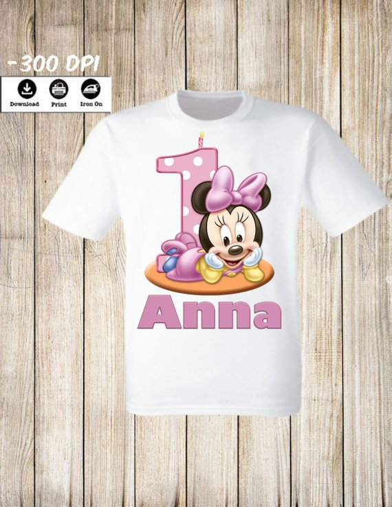 MINNIE MOUSE Com Coroa Aniversário IRON na transferência de criar uma camiseta Aniversário