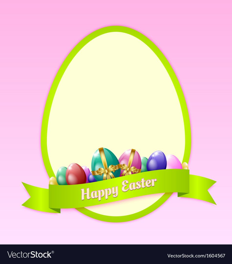 Happy Easter Greeting Card Template With Eggs And Ribbon Download A Free Preview Or High Quality Happy Easter Greetings Easter Greetings Easter Greeting Cards