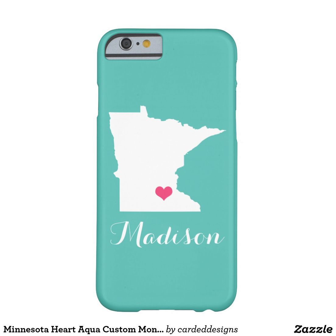 Minnesota Heart Aqua Custom Monogram Barely There iPhone 6 Case