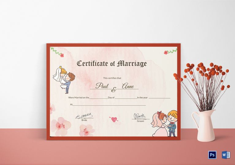 Beautiful Antique Marriage Certificate Template  Formats
