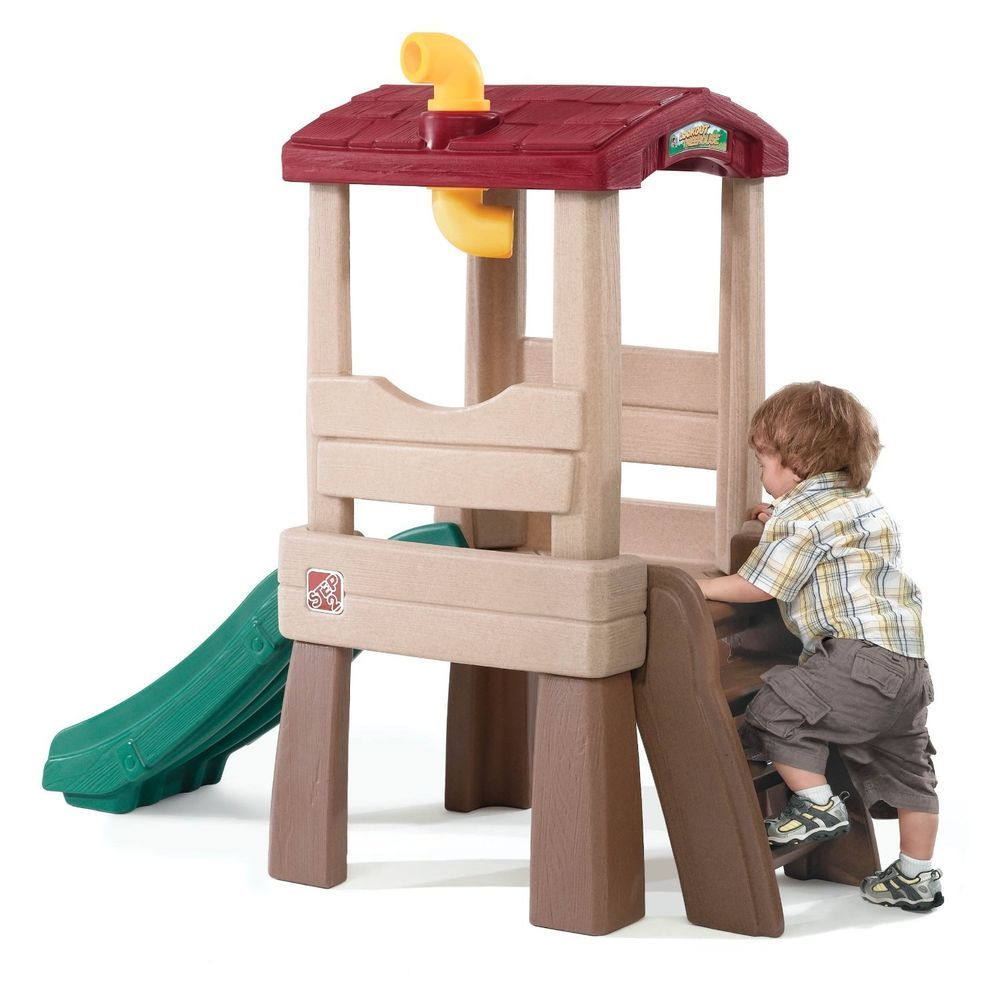 outdoor toddler treehouse kids lookout playhouse slide toy play