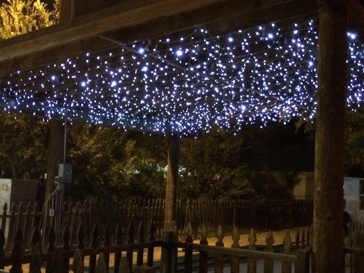 Icicle lights used to create a starry sky effect for weddings if you are having an outdoor evening wedding you need to have a lighting plan find affordable ways to use christmas lights at your reception junglespirit Gallery