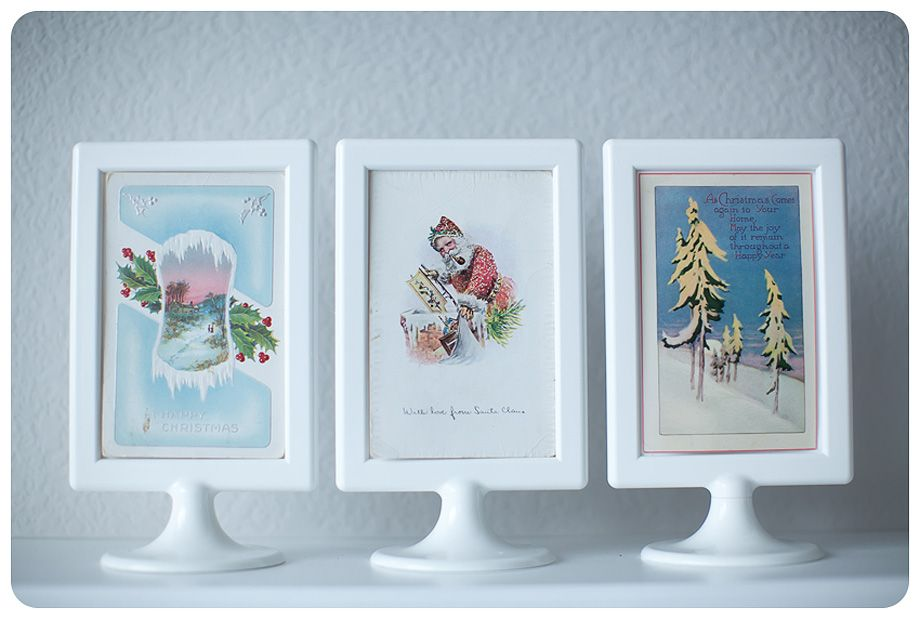 love the 099 ikea frames with vintage postcards