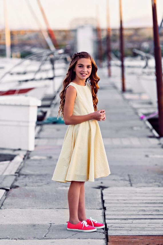 f26148fd28 Summer Dress for Girls - Seersucker yellow classic flattering dress for  girls with new tween sizes.