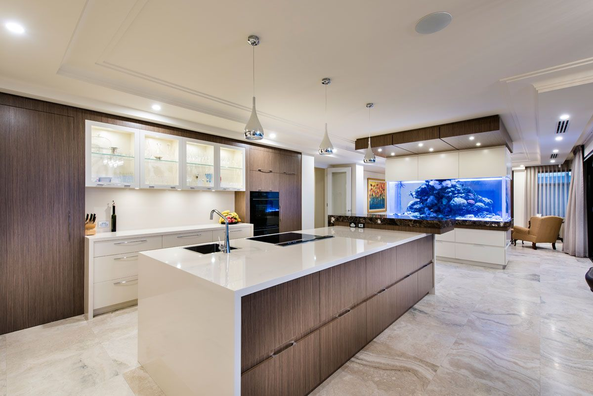 Timber Veneer Perth Enormous Kitchen With The Combination Of The Granite Qstone And